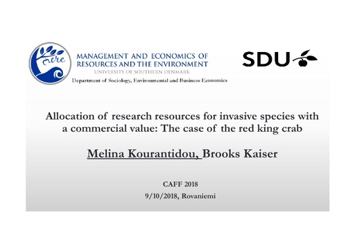 Allocation of research resources for invasive species with a commercial value: The case of the red king crab: Melina Kourantidou