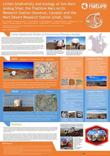Lichen biodiversity and ecology at two Mars Analog Sites: the Flashline Mars Arctic Research Station (Nunavut, Canada) and the Mars Desert Research Station (Utah, USA)