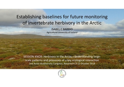 Establishing baselines for future monitoring of invertebrate herbivory in the Arctic: Isabel C Barrio