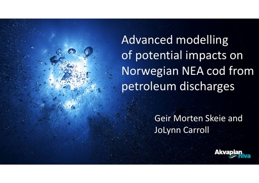 Ecosystem modelling as a tool to assess the impact of a major oil spill on an economically and ecologically important fish species in the Arctic: Geir Morten Skeie