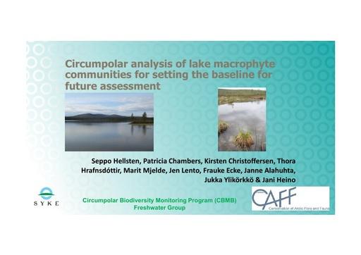 Circumpolar analysis of lake macrophyte communities for setting the baseline for future assessment: Seppo Hellsten