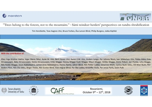 The role human-animal agency in ecosystem based management across the tundra zone of Northern Fennsocandia: Tim Horstkotte