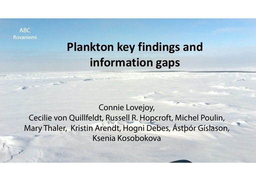 Plankton key findings and information gaps: Connie Lovejoy
