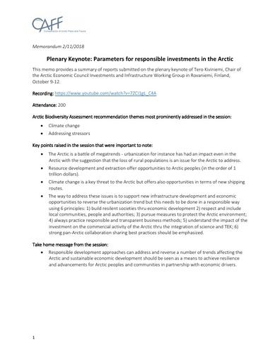 Memo KeyNote Kiviniemi Report