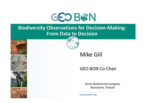 The Group on Earth Observations – Biodiversity Observation Network: From Data to Decision: Mike Gill