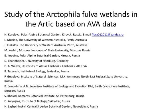 Classification of the Arctophila fulva wetlands in the Arctic: Natalia Koroleva