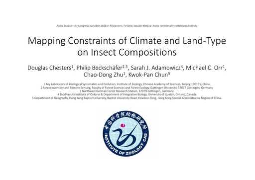 Mapping constraints of climate and land type on insect compositions: Douglas Chesters