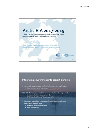 Good practice recommendations for EIA and public participation in the Arctic: Päivi A. Karvinen