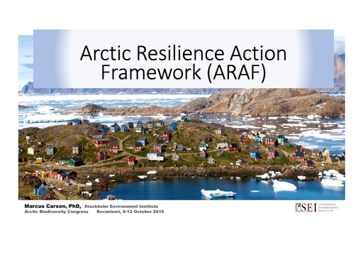 The Arctic Resilience Action Framework - moving from insight to action: Marcus Carson