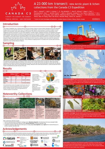 A 23 000 km transect: new Arctic plant and lichen collections from the Canada C3 Expedition