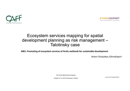 Ecosystem services mapping for spatial development planning as risk management – Talotinsky case: Anton Chistyakov