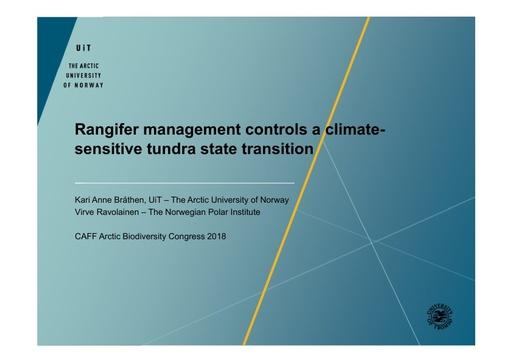 Rangifer management controls a climate-sensitive tundra state transition: Virve Ravolainen