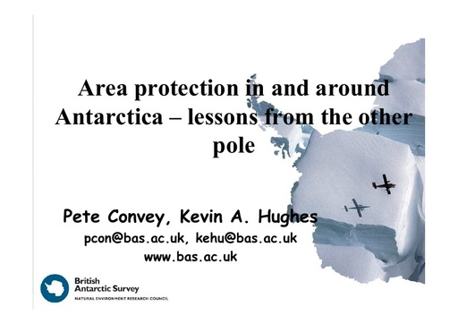 Area protection in and around Antarctica – lessons from the other pole: Peter Convey