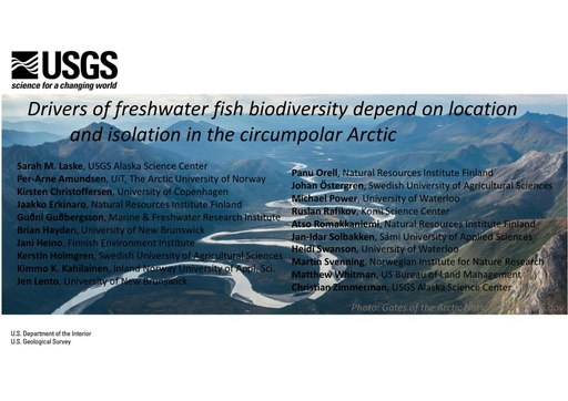 Drivers of freshwater fish biodiversity depend on location and isolation in the circumpolar Arctic: Sarah Laske