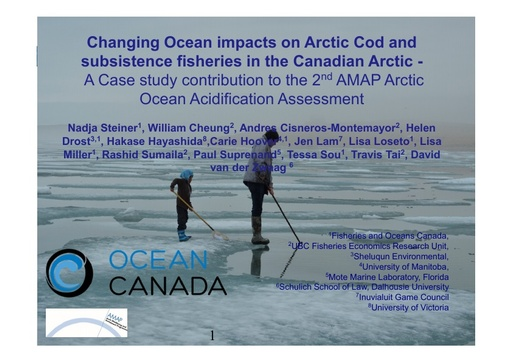 Climate change impacts on subsistence fisheries in the Western Canadian Arctic- A framework linking climate model projections to local communities: Nadja Steiner
