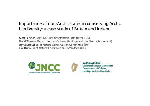 Importance of non-Arctic states in conserving Arctic biodiversity: a case study of Britain and Ireland: Matt Parsons