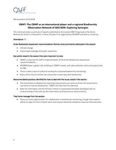 Memo EBM7 SessionReport