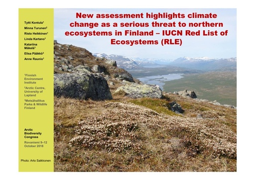 New assessment highlights climate change as a serious threat to northern ecosystems in Finland - IUCN Red List of Ecosystems (RLE): Tytti Kontula