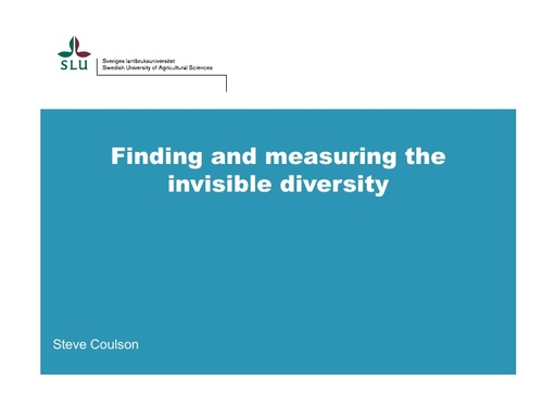Finding and measuring the invisible diversity, novel DNA methods with special reference to arctic invertebrates: Stephen Coulson