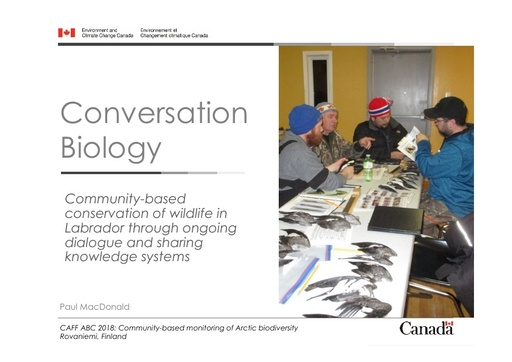 Conversation biology: Community-based conservation of wildlife in Labrador through ongoing dialogue and sharing knowledge systems: Paul MacDonald