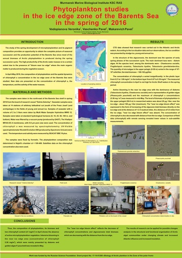 Phytoplankton studies in the ice edge zone of the Barents Sea in the spring of 2016